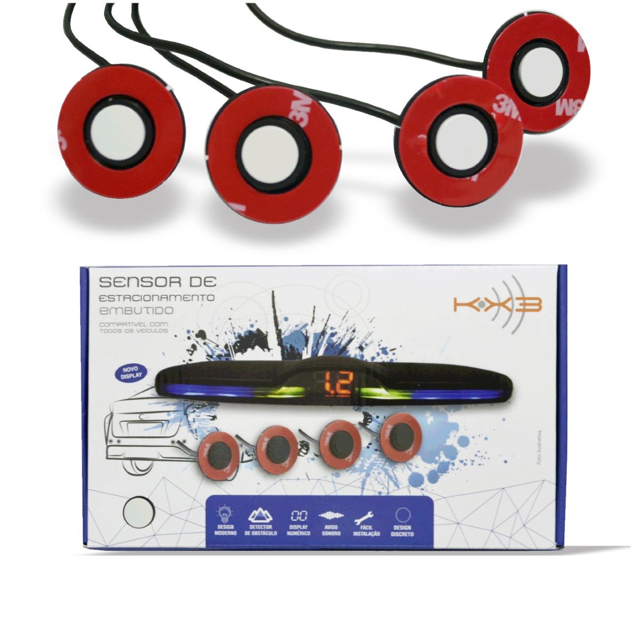 Sensor de Ré Estacionamento de Embutir 4 Pontos Branco OEM KX3