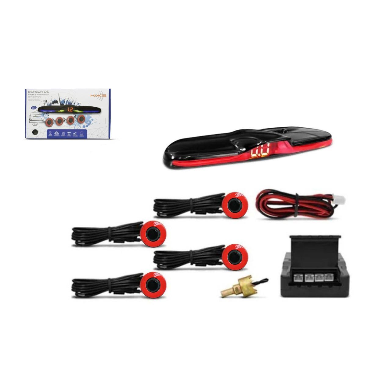 Sensor de Ré Estacionamento de Embutir 4 Pontos Preto OEM KX3