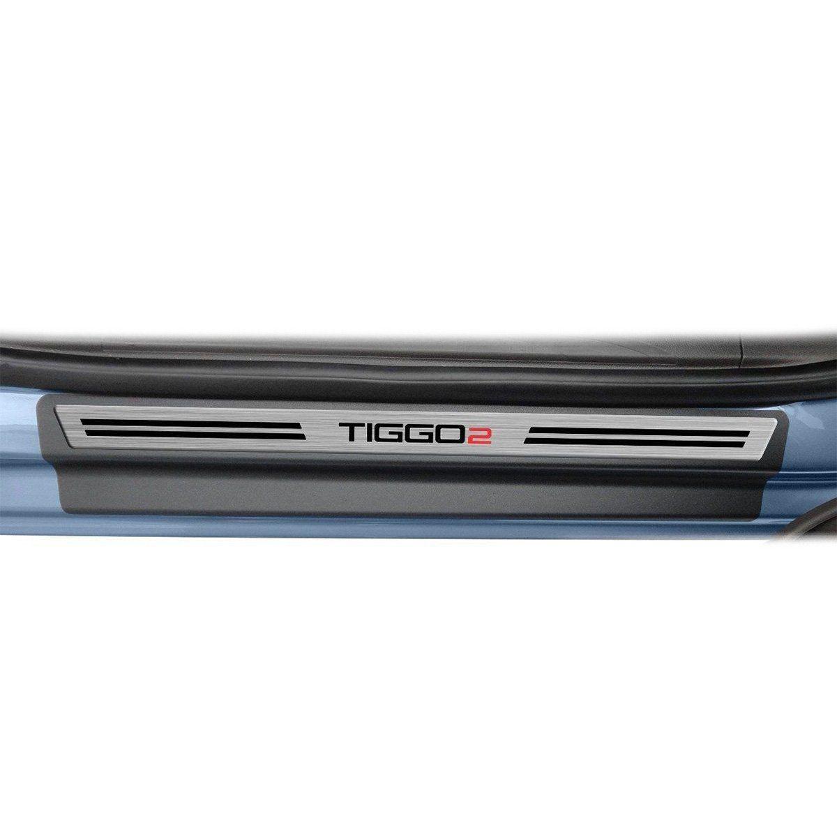 Soleira de Porta Chery Tiggo 2 2018 2019 Resinada Modelo Aço Escovado