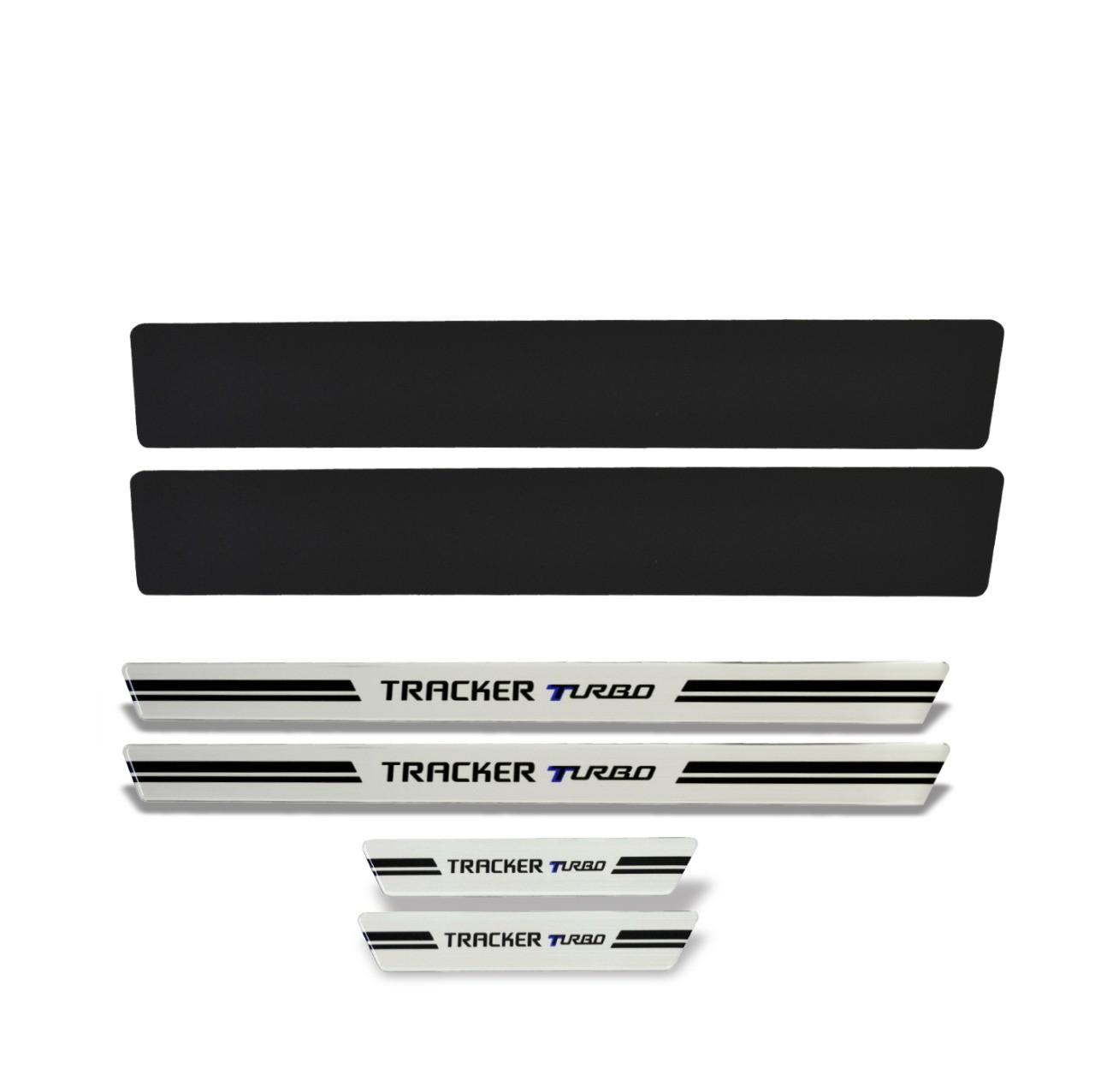 Soleira de Porta Tracker Turbo Resinada Premium Modelo Aço Escovado