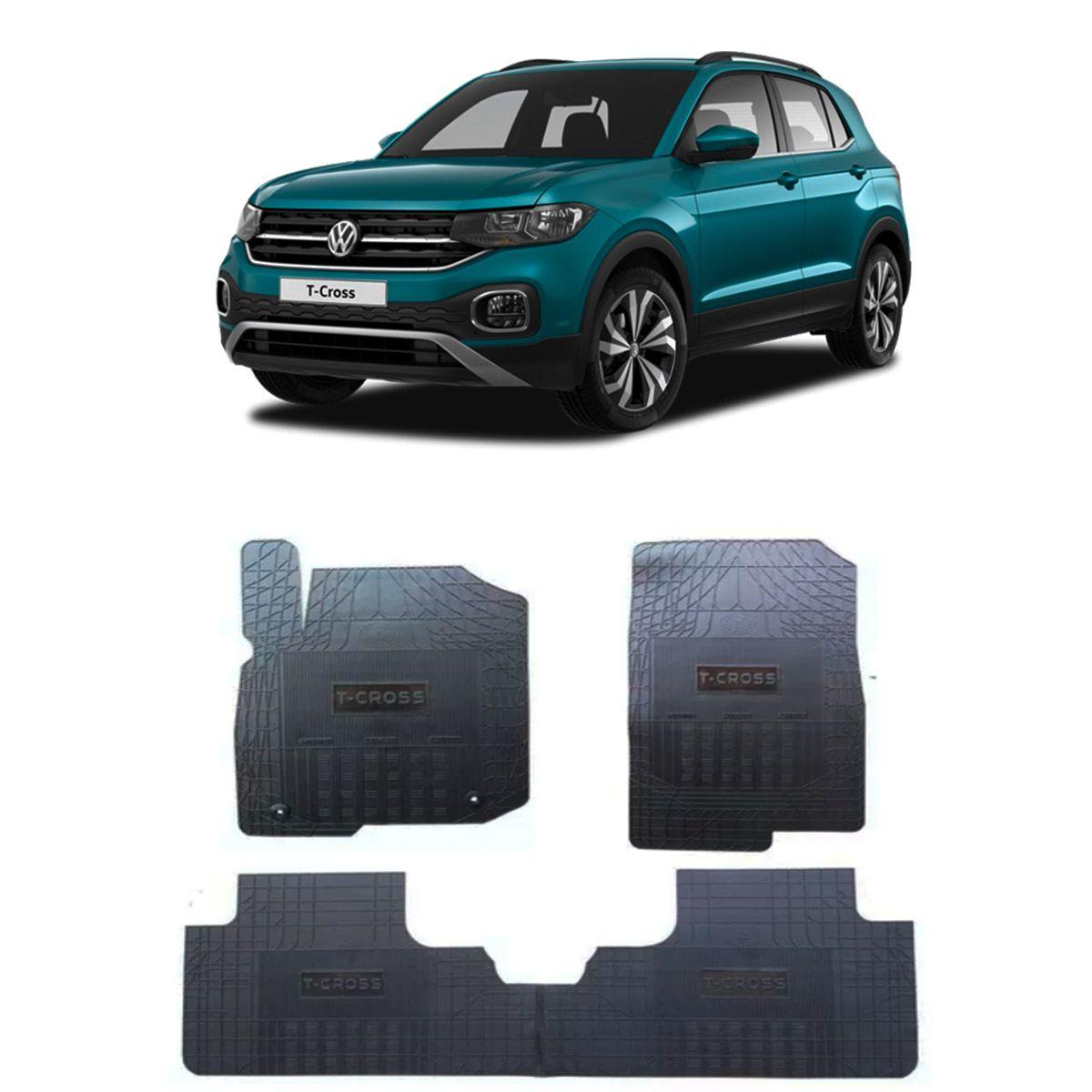 Tapete de Borracha PVC Reforçado Volkswagen T-Cross 2019 em diante Tapeplass
