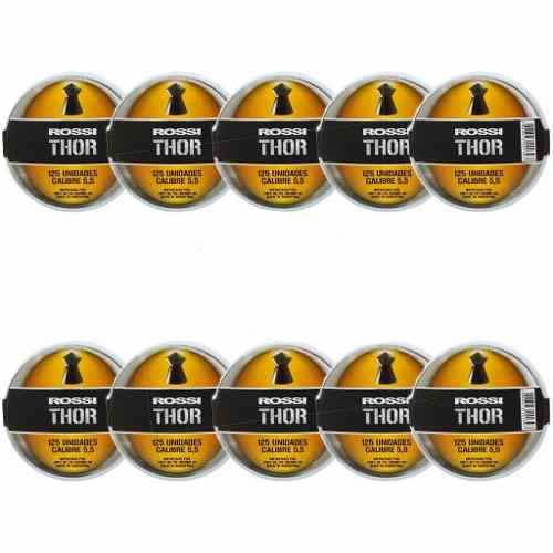 10 Latas Chumbinho Rossi Thor II - 5.5mm 125un cada