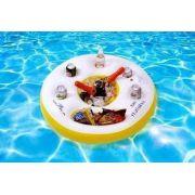 Bar Cooler Inflavel Flutuante C/ Porta Latas +espaço P/ Gelo