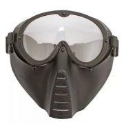 Máscara Tática Ajustável Para Airsoft Lente Em Policarbonato