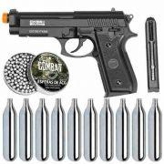 Kit Pistola Airgun CO2 GNB PT92 Full Metal + esferas + 10 Cil. Co2 - SWISS ARMS