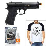 Pistola Airsoft Taurus Pt92 Abs + 2000 Bbs + Camiseta + Óleo