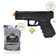 Kit Pistola Airsoft Glock G15 Full Metal 6mm + 2000 Bbs - Spring