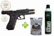 Kit Pistola Airsoft Glock R17 Polímero Blowback + Green Gás + 4000 Bbs