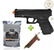 Kit Pistola Airsoft Glock G15 Full Metal 6mm + 4000bbs + Speed Loader