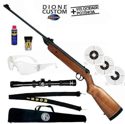Carabina de Pressão Rossi Nova Dione 5.5mm Madeira Tradicional + Combo