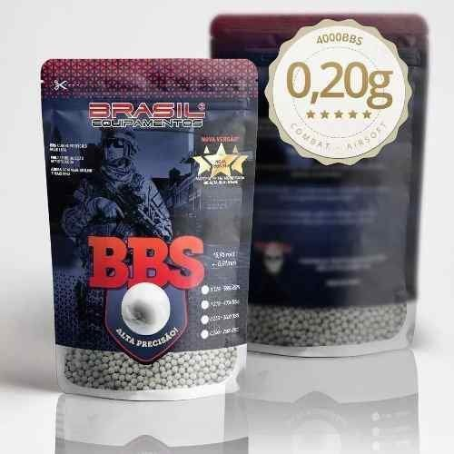 Munição Airsoft Esferas BBs 6mm 0,20g Brasil Equipamentos - Pacote 4000un
