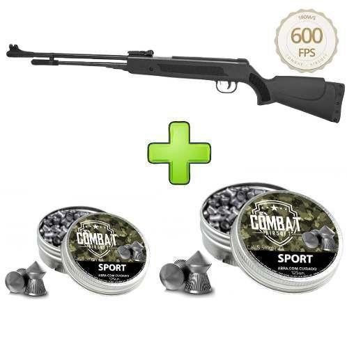 Carabina de Pressão Black Fixxar LAZ 103 Polímero 600 fps 5.5mm + 250 Chumbinhos