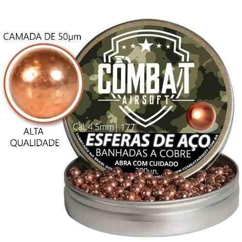 Esferas De Aço Banhada A Cobre Combat Airsoft 4,5mm 300 Unid