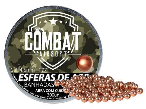Esfera De Aço Banhada A Cobre Combat Airsoft 4,5mm 300 Unid