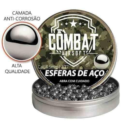 Esferas De Aço Combat Airsoft 4,5mm 300 Unidades