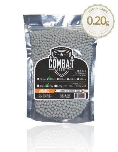 Bb Airsoft Munição Armamento Combat Airsoft 0.20g 2000un 6mm