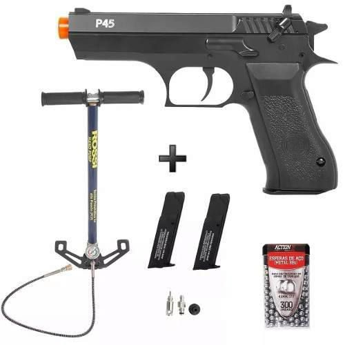 Pistola Pressão Pcp Rossi Kwc P45 4.5mm + Bomba + Acessorios