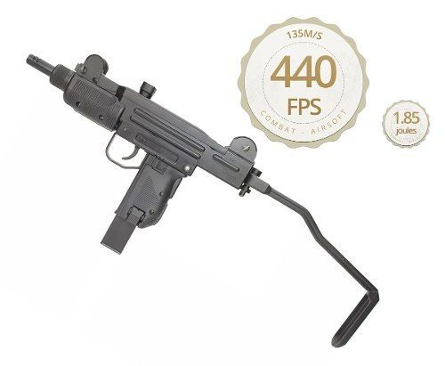 Rifle Submetralhadora Pressão Kwc Gbb Co2 Mini Uzi Black 4.5