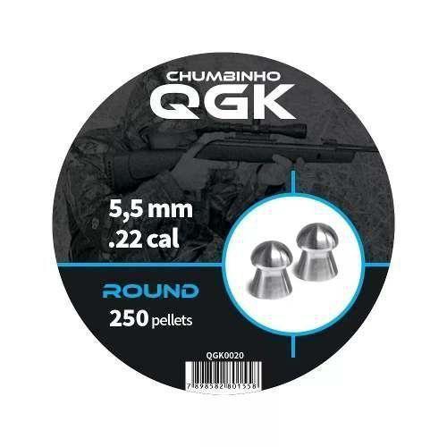 Chumbinho Round 250 Pellets/pote 5,5mm - Qgk