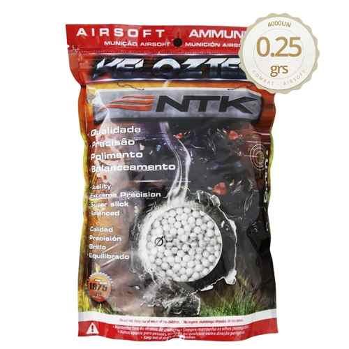 Kit BBs Airsoft 0,25g Velozter Ntk Branca 2 Pacotes 8000 Unid