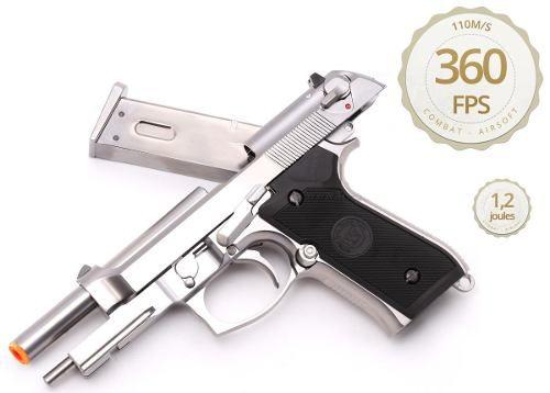 Pistola De Airsoft We M9a1 Silver Full Auto Gás Blowback 6mm