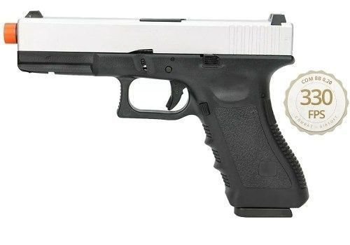 Pistola Airsoft Gbb Glock R17 Silver Blowback Army Armament 6,0mm
