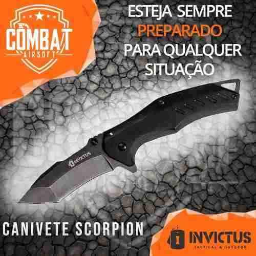 Canivete Invictus Scorpion Tático Militar Aço Inox C/ Clip