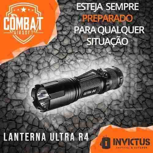 Lanterna Tática Ultra R4 180 Lúmens Preta Invictus