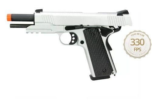 Pistola Airsoft Gbb M1911 Warrior R28 Silver Blowback 6mm