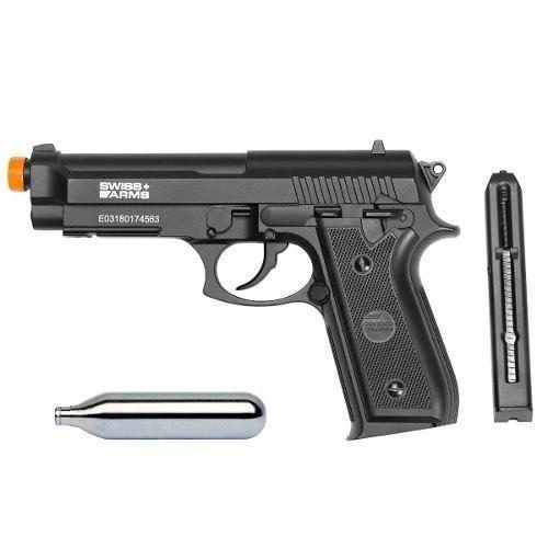 Pistola Airgun Gás Co2 GNB PT92 SA P92 Full Metal - Swiss Arms