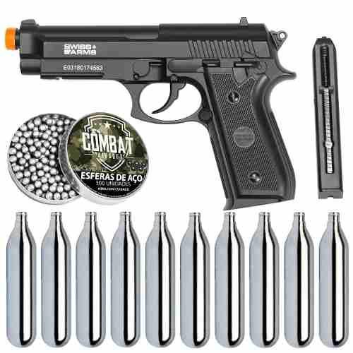 Kit Pistola Airgun CO2 GNB PT92 Full Metal + esferas + 10 Cil. Co2