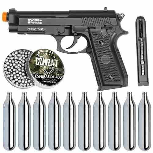 Kit Pistola Airgun CO2 GNB PT92 Full Metal + esferas + 10 Cil. Co2 - SWISS ARMS