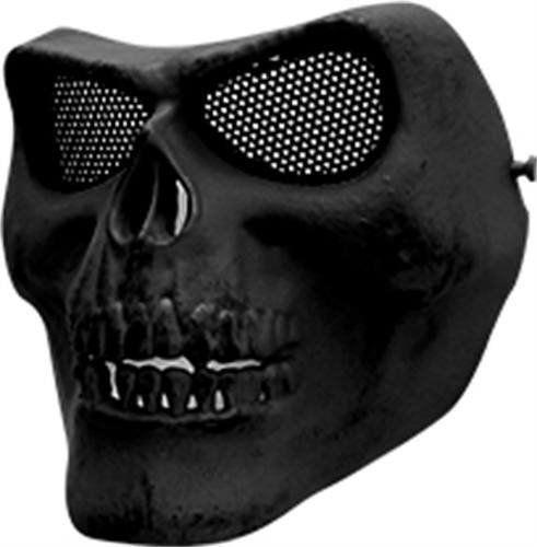 Máscara Caveira Highlander Preta Airsoft Com Tela Em Metal
