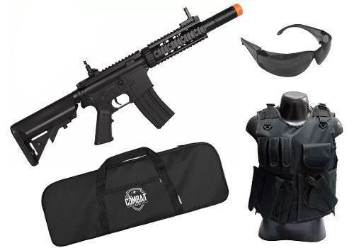 Kit Tatico Rifle Elétrico Bivolt Airsoft Cyma M4a1 Cm513 Bk