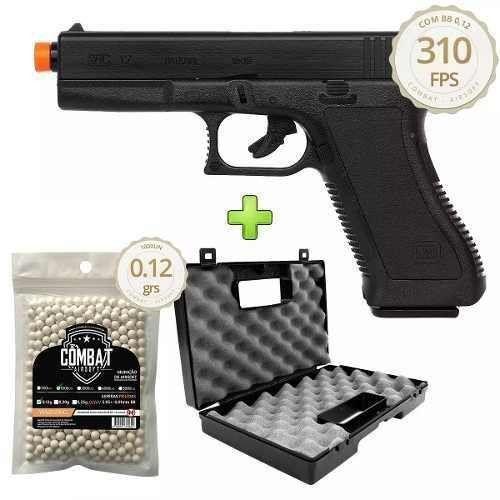Pistola De Airsoft Spring Kwc Glock K17 + 1000 BBs + Maleta