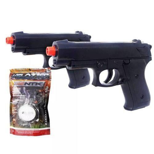 Kit 2 Airsoft Pistola Vg P92 038 Mola 6mm+ 2000 Esferas Bbs