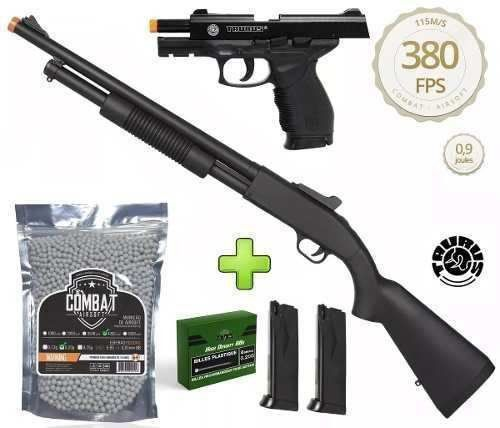 Kit Shotgun Spring Airsoft Rifle Cyma ZM61A + Pistola Airsoft Cybergun PT24/7 + 4000 BBs