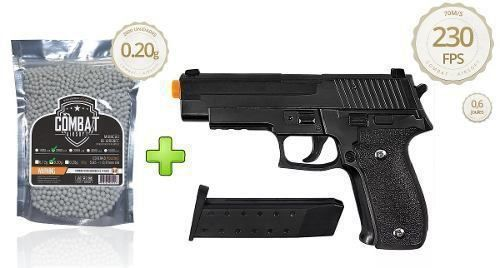 Pistola Airsoft Galaxy G26 Full Metal Spring + 2000 BBs Combat Airsoft