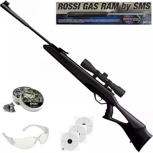 Carabina De Pressão Rossi SAG R1000 5,5mm Gás Ram 60kg + Luneta 4x32 + Chumbo