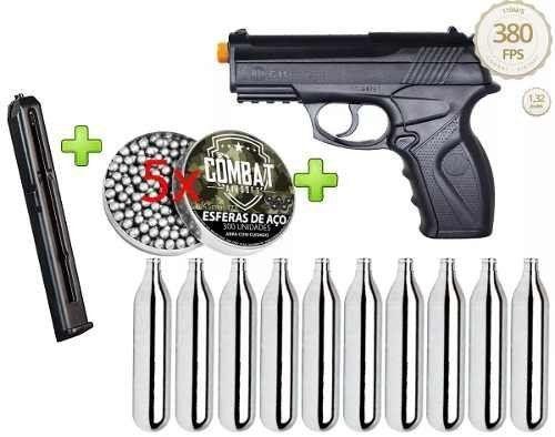 Kit Pistola Pressão Wg C11 +1500 Esferas +10 Cilindros Co2 + Magazine extra