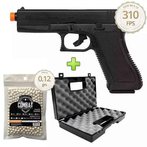 Pistola De Airsoft Spring Kwc Glock K17 + 1000 BBs + Maleta Combat