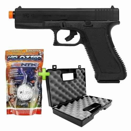 Pistola Airsoft Spring Kwc Glock K17 + 2000 BBs + Maleta Combat