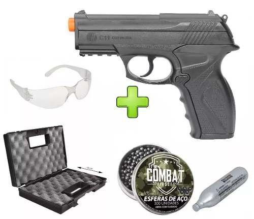 Pistola de Pressão Wingun C11 Rossi 4,5mm CO2 428 FPS + 5 CO2 + 900 Esferas + Maleta Combat + Óculos