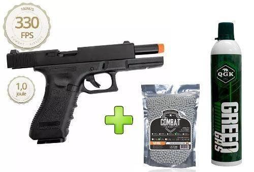 Pistola Airsoft Glock R17 Polímero Blowback + Green Gás + 4000 Bbs