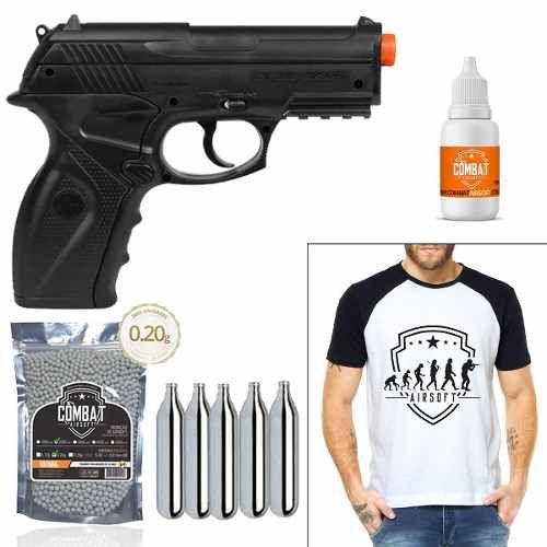 Pistola de Airsoft Wingun C11 6mm CO2 492 FPS + 2000 BBs+ Camiseta + Óleo