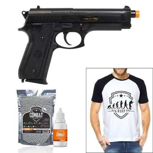 Pistola Airsoft Cybergun Pt92 Abs + 2000 Bbs + Camiseta + Óleo