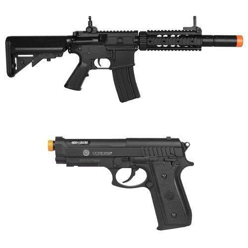 Rifle Elétrico Airsoft Cyma M4a1 Cm513 + Pistola Cybergun Pt92