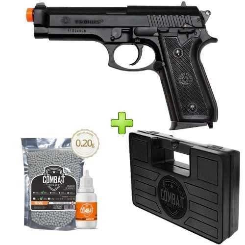 Pistola Airsoft Pt92 Abs Cybergun + Case + Bbs + Óleo