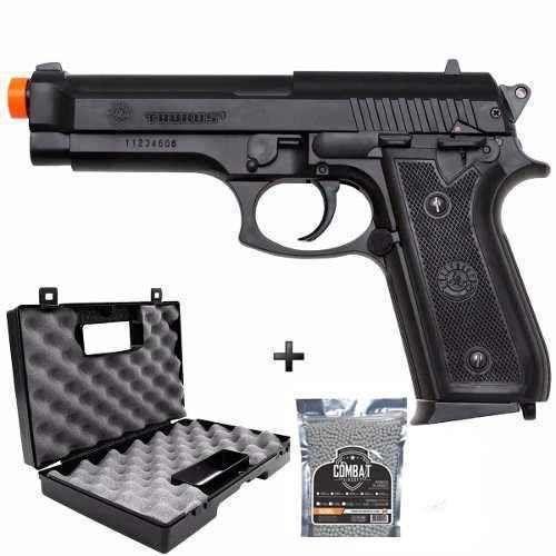 Pistola Airsoft Spring Cybergun Cybergun Pt92 ABS com Case Combat e Bbs