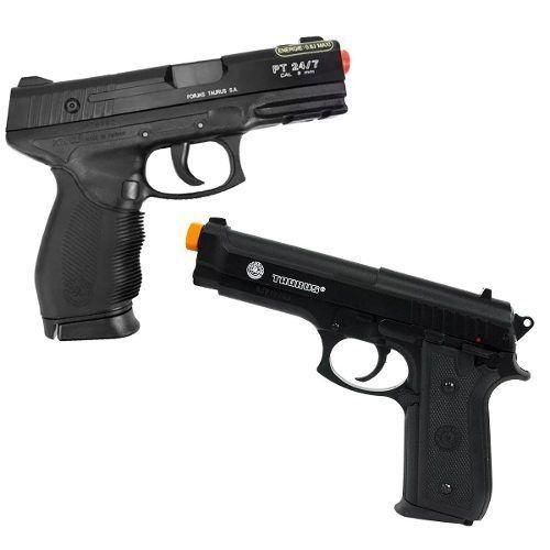 Pistola Airsoft Spring Cybergun PT24/7 Cybergun 6mm + Pistola Airsoft Spring Cybergun PT92 Cybergun Slide Metal 6mm